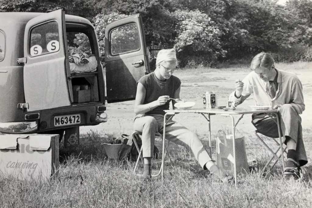 Mum and Dan having picnic by the Volvo Duett
